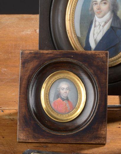 École FRANÇAISE du XVIIIe siècle  Buste de trois quarts d'un homme à l'habit rouge...