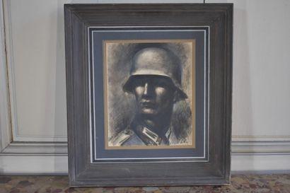 José Luis REY VILA (1910-1983)  Soldat  Pastel...