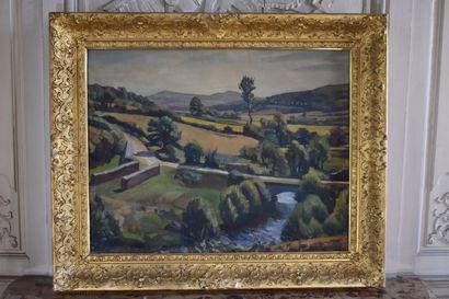 Jean BUHOT (XIXe - XXe siècles)  Paysage du Morvan, Vue de la Cure à Nataloup, 1925...