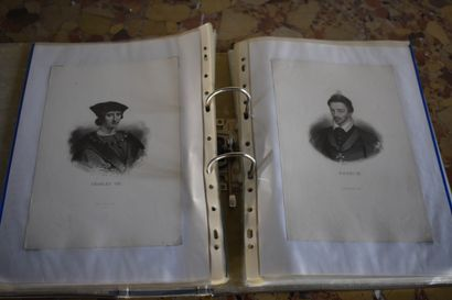 Lot comprenant plus de cinquante lithographies, XIX et XXe siècle  Rois, châteaux,...
