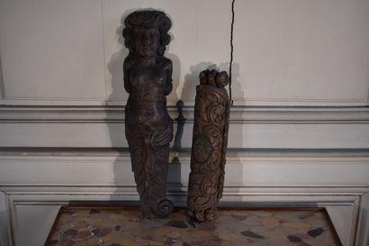 Deux éléments en bois sculpté, XIXe siècle...