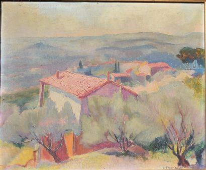 J. EGGIMANN (?)  Paysage de Provence  Huile...