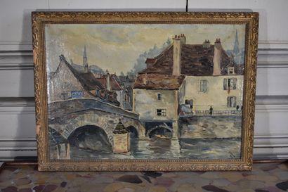 Simone VIRE (XXe siècle)  Pont de la Brenne à Montbard  Huile sur toile  31 x 44...