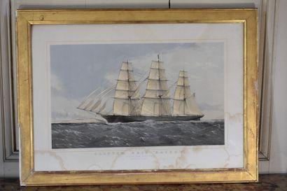 Thomas Goldsworthy DUTTON (1819-1891)  Clipper Ship Kaisow  Lithographie en gravure...