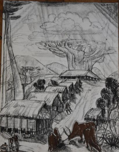 André MAIRE (1898-1984)  Village malgache,...