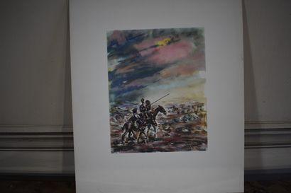 José Luis REY VILA (1910-1983)  Don Quichotte et Sancho Panza  Encre de chine et...