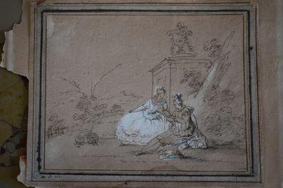 Ecole française vers 1800  Scène galante  Plume et rehauts de craie blanche  14...