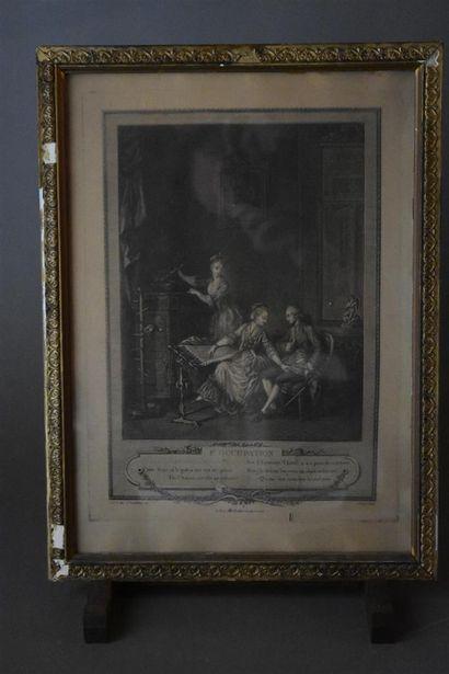D'après Charles Louis LINGÉE (1748-1819)  L'occupation et La promenade du matin...