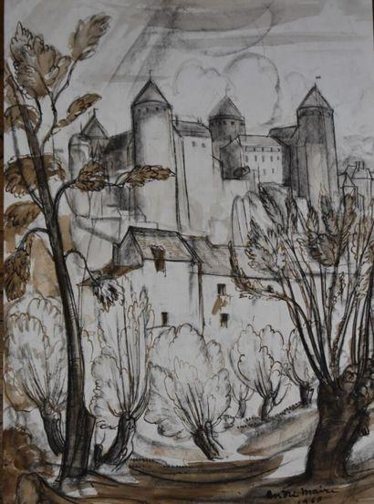 André MAIRE (1898-1984)  Le Donjon, Semur-en-Auxois, 1965  Fusain et sepia  Signé...