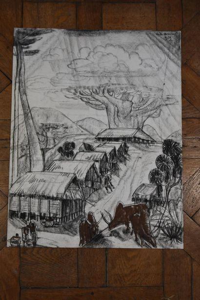 André MAIRE (1898-1984)  Village malgache, 1959  Fusain et pastel  Signé et daté...