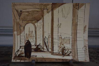 André MAIRE (1898-1984)  Esquisse, vue de la Collégiale de Semur-en-Auxois, 1937...