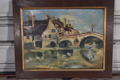 Ecole française du XXe siècle  Le pont de la Brenne à Montbard  Huile sur panneau...