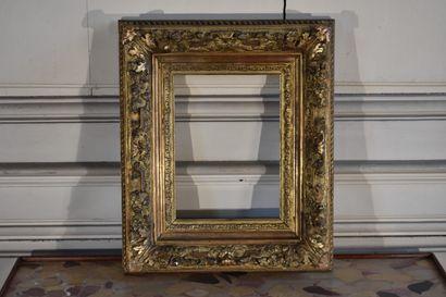 Petit cadre en bois et stuc doré, fin du...