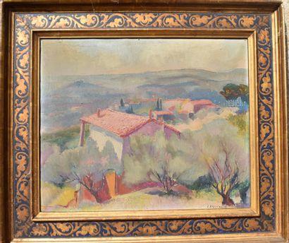 J. EGGIMANN (?)  Paysage de Provence  Huile sur toile  Signée en bas à droite  38...