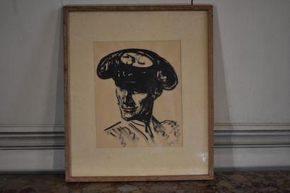 José Luis REY VILA (1910-1983)  Torrero  Encre de Chine  24 x 19,5 cm