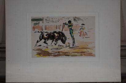 José Luis REY VILA (1910-1983)  Tauromachie  Deux aquarelles et encre de chine  12,5...