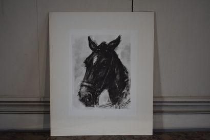José Luis REY VILA (1910-1983)  Cavalier sur son cheval  Encre de chine et rehauts...