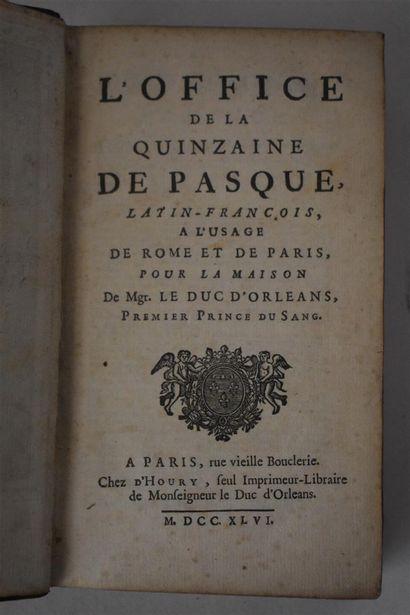 Semaine Sainte. Office de la quinzaine de Pasque [...] à l'usage de Rome et Paris...