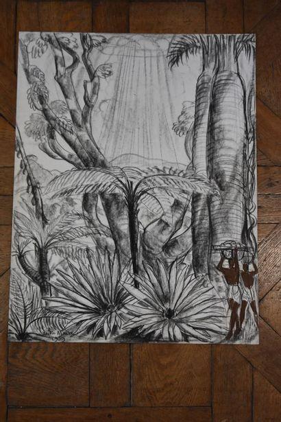 André MAIRE (1898-1984)  Malgaches et baobabs, 1959  Fusain et pastel  Signé et...