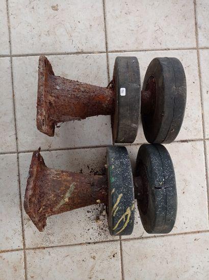 Lot de 2 rouleaux-porteurs avec supports...