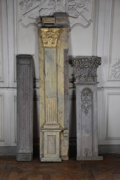 Three pieces of molded, carved and lacquered wood paneling, 19th century  Decorated...