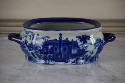 Fine earthenware bowl England early 20th century  Decorated in blue monochrome with...