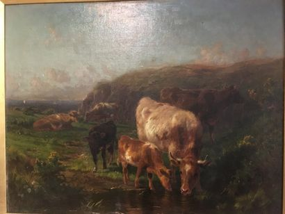 WATSON  Cows drinking  Oil on canvas    Signed and dated on the left 1899  Restorations...