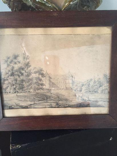 Vue du Château d'Ancy le franc en 1804  D'après...
