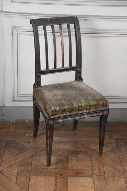 A Directoire period molded mahogany chair  With a curved openwork back finished...