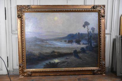 René ANDREAU (Paris 1870 - Semur-en-Auxois 1945)  Paysage du Morvan au crépuscule...