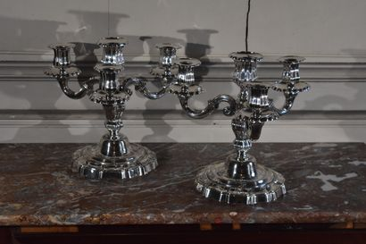 A pair of silver-plated bronze candelabras in the 18th century style  With three...