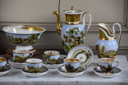 Polychrome porcelain service set, first quarter of the 19th century  Including two...