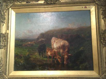WATSON  Vaches s'abreuvant  Huile sur toile...