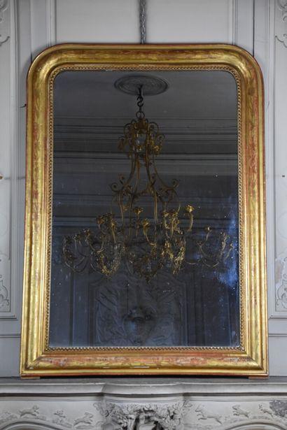 Trumeau en bois et stuc doré, époque Napoléon...