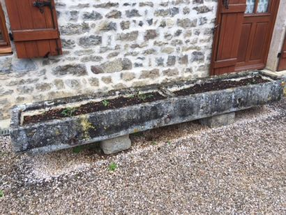 Burgundy stone trough with two compartments  L. 272 P. 50 H. 25 cm  Sold by des...