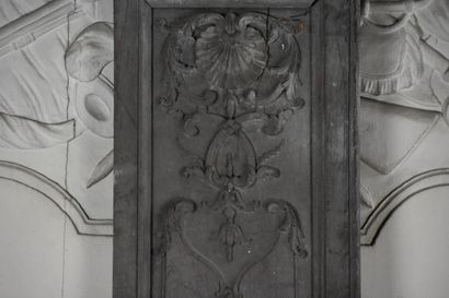Regency period molded and carved oak paneling  Decorated with shells and foliage...