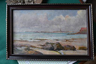 Ecole française vers 1920  Marée basse à Saint Malo  Huile sur toile  Signée 'P....