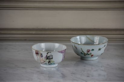 Lot including a covered sugar bowl in Paris porcelain, gilt metal frame  Two Chinese...