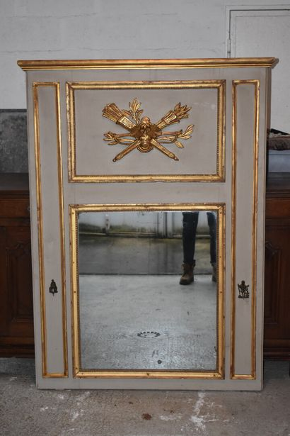 Important molded, carved, gilded and lacquered wood overmantel from the Louis XVI...