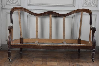 Napoleon III period natural wood sofa  on fluted and filleted legs  H. 85 W. 150...