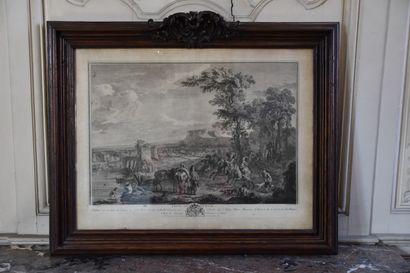 D'après Carl Van Fallens (1683-1733)  Départ de chasse et Prise du héron  Deux gravures...