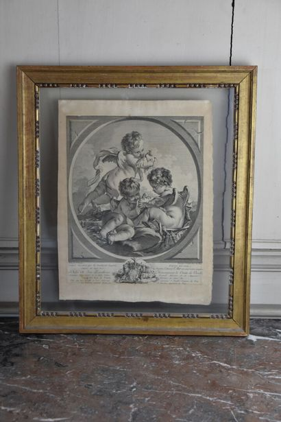 After François Boucher (1703-1770)  Suite of four engravings with putti decoration...