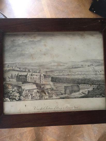 Vue du Château d'Ancy le franc en 1804  D'après le dessin original de M. le Marquis...