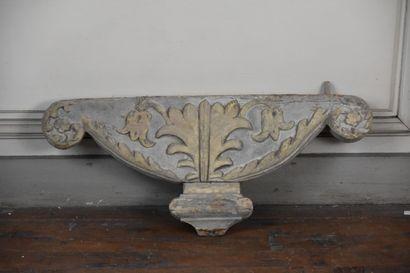 Elément de décor en bois sculpté, mouluré...