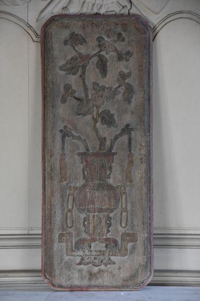 Panneau en bois sculpté  Chine, fin du XIXème...