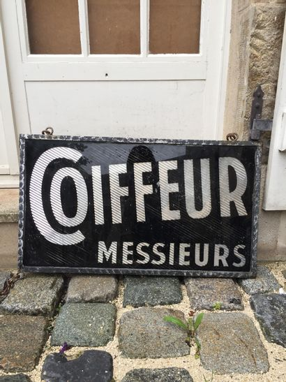 Hairdresser sign, second half of the 20th century  H. 40 x 70 cm