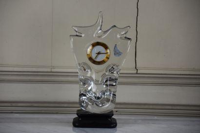 Pendule en cristal par Schneider, vers 1950...