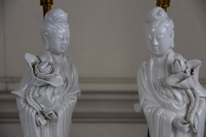 Two Chinese white porcelain guanyin statuettes, 20th century  Mounted in a lamp...