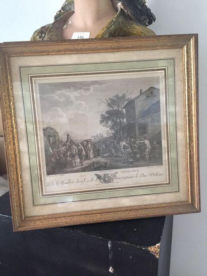 D'après Jan MIEL (1599-1663) et gravé par Gareau et J. Couché  La danse et La vendange...