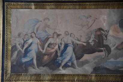 Ecole Française du XIXe siècle  Gravure en couleurs, décor à l'antique  42 x 86...